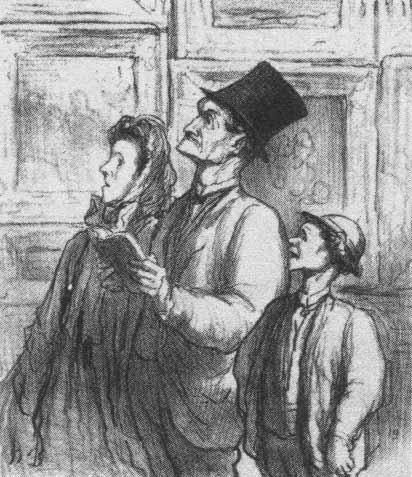 Оноре Домье. Семья посещает Парижский салон 1863 года и комментирует картину Олимпия Мане